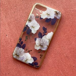 Purple flowers metallic iPhone 8 Plus case